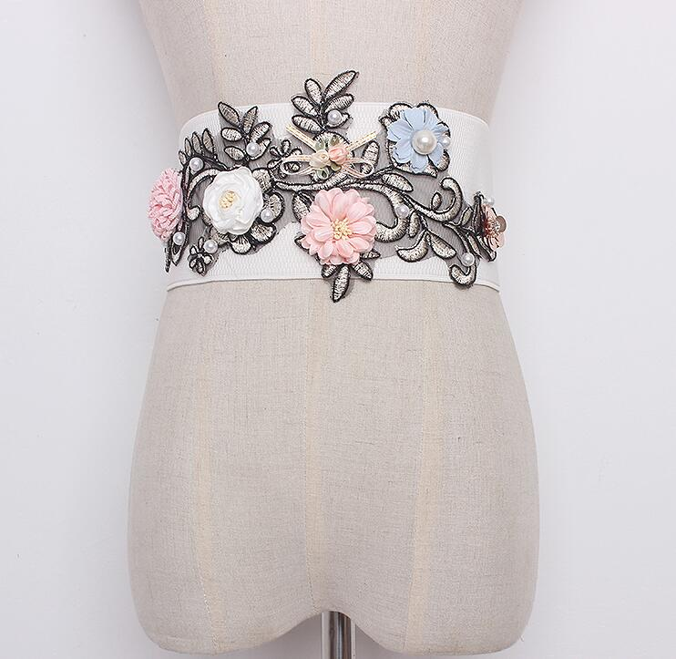 Women's Runway Fashion Flower Embroidery Elastic Cummerbunds Female Dress Corsets Waistband Belts Decoration Wide Belt R1697