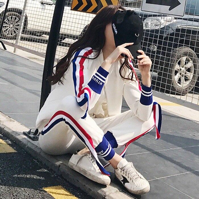 Survêtement femme Fermeture Éclair Sweat À Rayures et Pantalon 2 pièces Ensemble Mode 2018 Femelle Haut À Manches Longues Pull et Pantalon Costume
