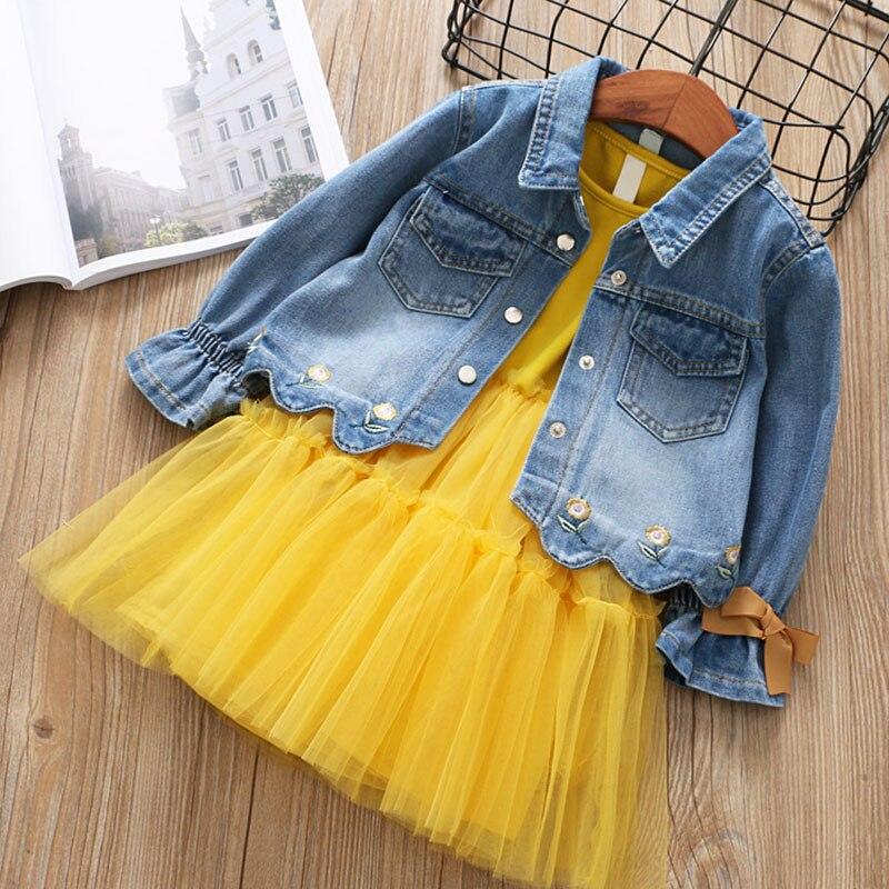 spring fashion children clothing sets bowknot long sleve denim jackets+sleeveless patchwork mesh dress 2pcs girls clothes sets