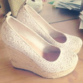 Women shoes Cute Lace Dress ladies Dress  Shoes Women's Round Toe Wedge Heel  Pumps EU34-45