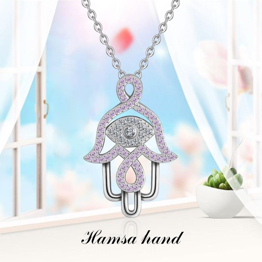 "Hand of Fatima Hamsa  Evil Eye Charm on 18/"" Silver Chain"