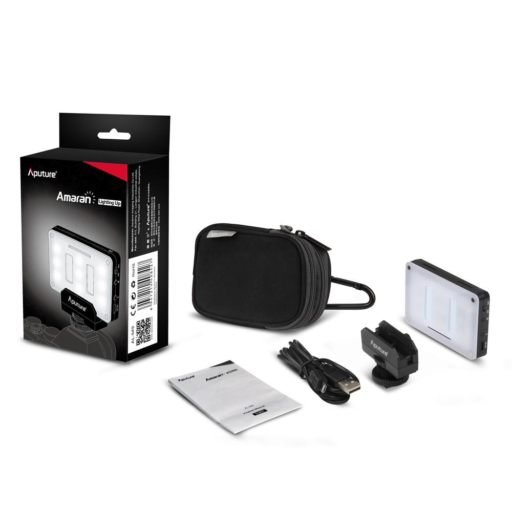 Aputure AL-M9 Pocket LED Video Light on Camera Studio Light Rechargeable Photo Light CRI/TLCI 95 for Canon Wedding Filmmaking