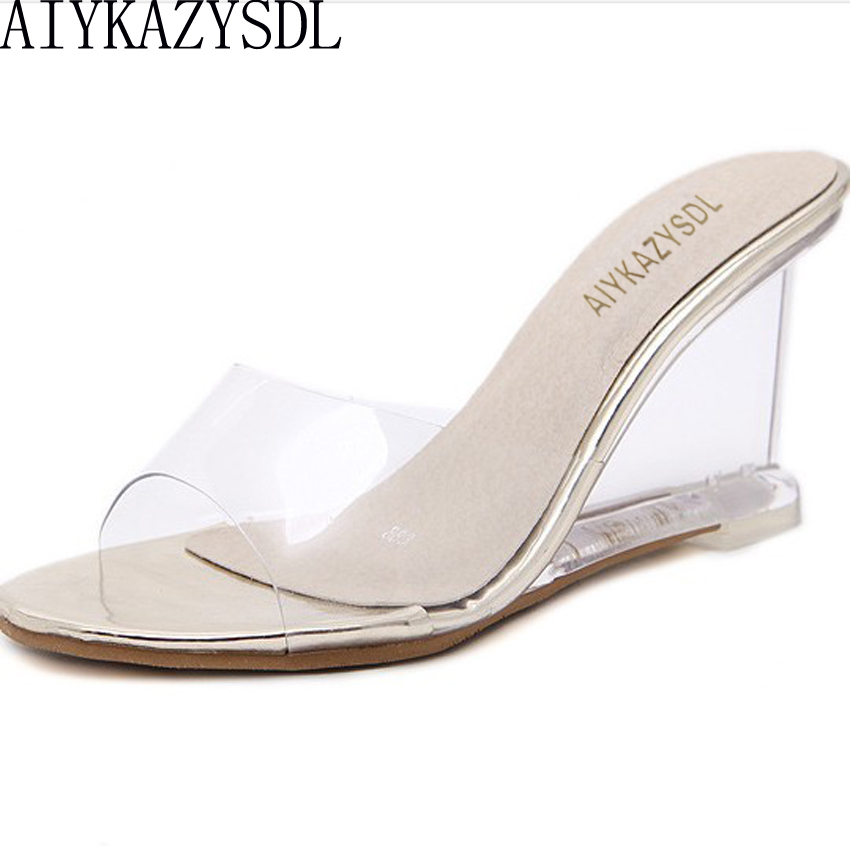 AIYKAZYSDL Women Summer Sandals PVC Open Toe Slides Mules Wedge High Heels Simple Concise Beach Shoes Woman Pumps Gold Silver