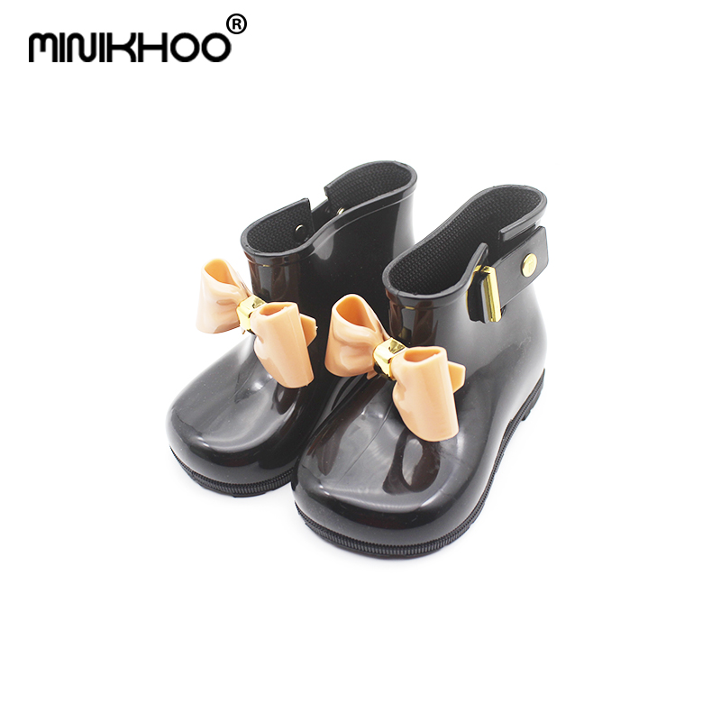 Mini Melissa Bow Girl Rain Boots 2018 New Melissa Girls Jelly Boots Girl Jelly Shoes Waterproof Children Water Shoes 14.5-19.5cm