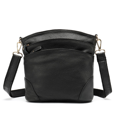 Version Of Genuine Leather Single Shoulder Bag Lady-Style First-Layer Cowhide Bucket Bag Litchi Pattern Leisure Twisted Bag
