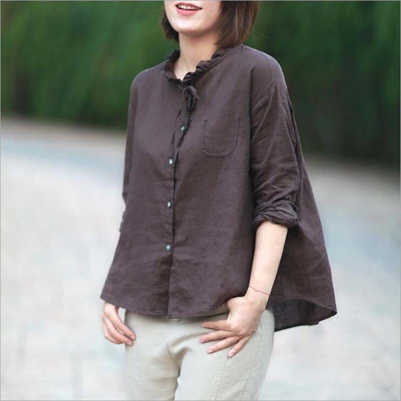 Nefeilike Women Casual Shirt 2018 Spring Summer New Cotton Linen Blouses Plus size Long Sleeve Ruffledr Top Women Button Shirts