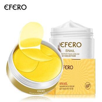EFERO 2pcs=1set Skin Care Set Whitening Cream Set Moisturizing Snail Cream Face Cream Eye Patch Under the Eye Mask Dark Circles