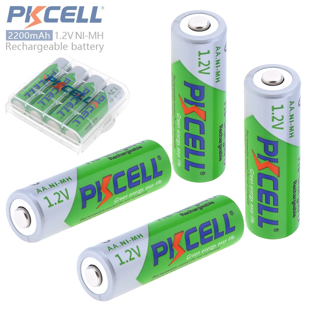 4pcs Pkcell 1.2V 2200mAh AA Ni-Mh NiMh Rechargeable Battery with Safety Relief Valve 2A Pre-charged + Battery Box Case Holder