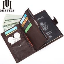 Miskits portefeuille en cuir véritable pour hommes, portefeuille de voyage, couverture de passeport pour hommes organisateur, grande capacité, porte cartes, porte monnaie