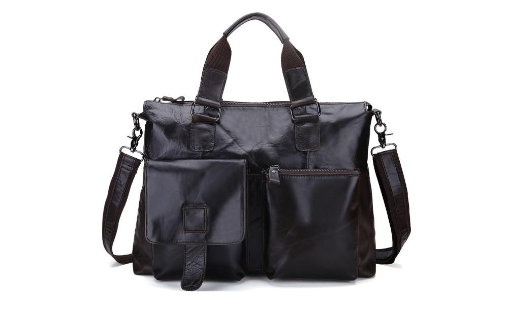 Black Genuine Leather Men Bag Laptop Briefcases Handbags Men Shoulder Bag Strap Crossbody Bags Messenger Bags Men Leather Totes