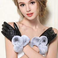 High Quality Elegant Women Genuine Lambskin Leather Gloves Autumn And Winter Thermal Hot Trendy Female Glove