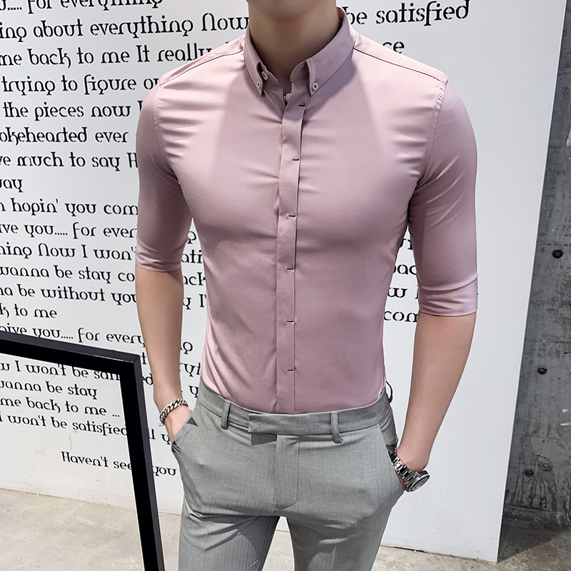 2019 Summer New Best Selling Men's Shirt Solid Color Fashion Business Casual Half Sleeve Shirt Men's Half Sleeve Trend Clothing