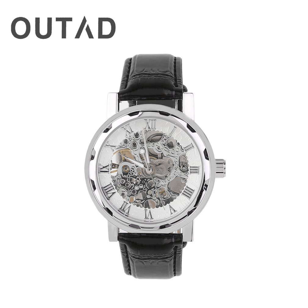 OUTAD Men Skeleton Mechanical Hand Wind Watch leather Top Brands Luxury Male Montre Homme Rome Number Display Wristwatch Relogio цена и фото