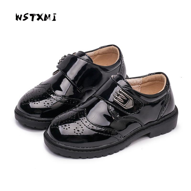 Boys Dress Leather Shoes for Kids Black Genuine Leather Oxford Wedding Shoes Children Flat Etiquette School Shoes Rubber Sole