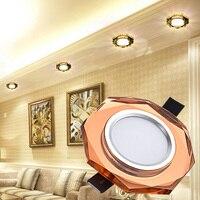 LAIMAIK-Lámpara de techo en cristal, dispositivo de iluminación led vidriado, europeo, para pasillo o entrada, 3W, AC90-260V