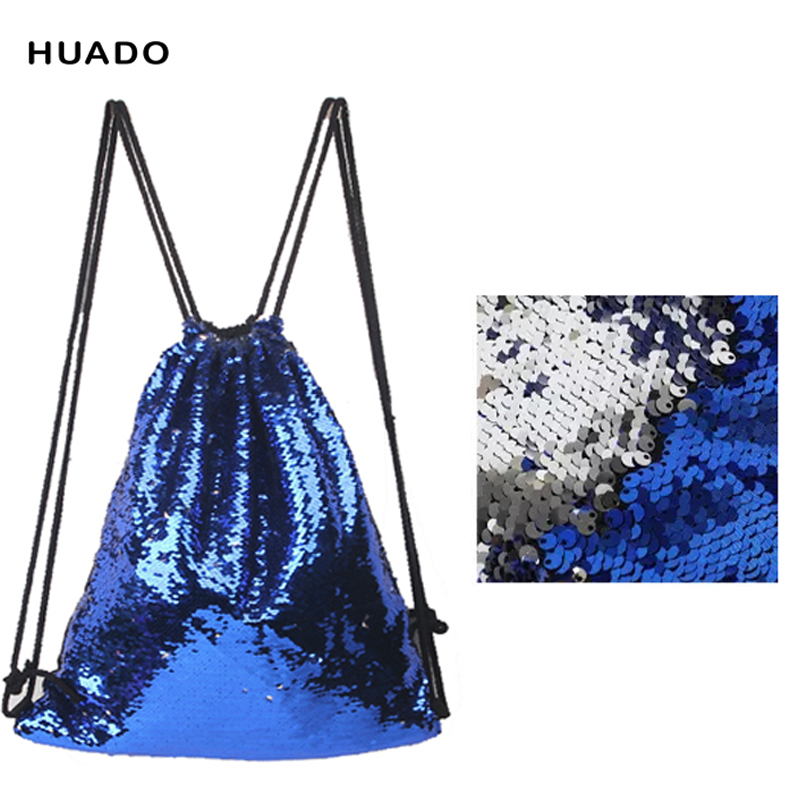 2018 Drawstring Bags backpack Double Color Sequins Woman Lady Female Travel Drawstring Backpack