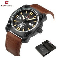 NAVIFORCE Brand Men S Fashion Casual Sport Watches Men Waterproof Leather Quartz Wristwatch Man Dress Clock