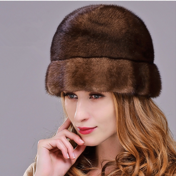 HM022 women's winter hats Real genuine mink  fur hat  winter women's warm caps whole piece mink fur hats mink skullies beanies hats knitted hat women 5pcs lot 2299