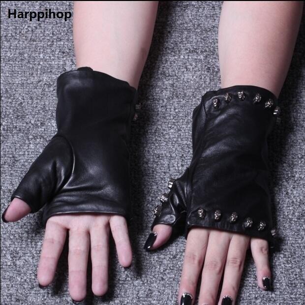 Leather Gloves Female Fashion Lady Spring Summer Winter Mittens Genuine Sheepskin Gloves Half Finger Glove Skull head rivet