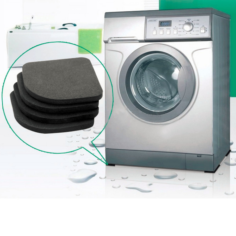 4pcs 다기능 냉장고 방진 패드 매트 세탁기 충격 패드 비 슬립 매트 세트 욕실 액세서리
