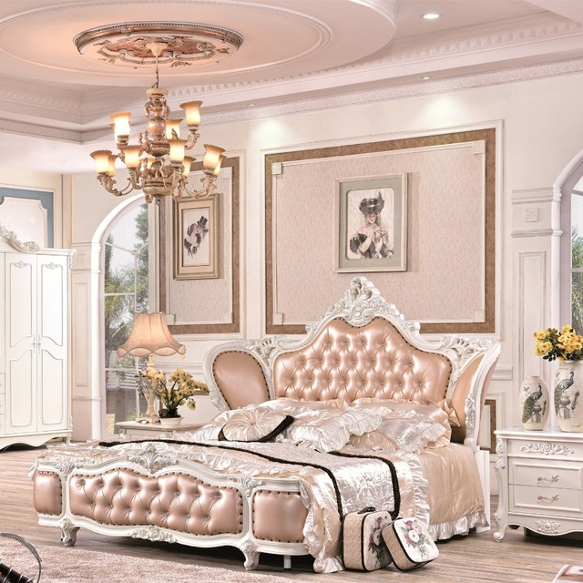 Prix usine lit king size rose chambre meubles