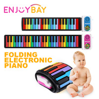 Enjoybay 49 Keys Roll Up Electronic Piano Toy Kids Silicone Midi Keyboard Pianos Portable Baby Piano Musical Gift for Children