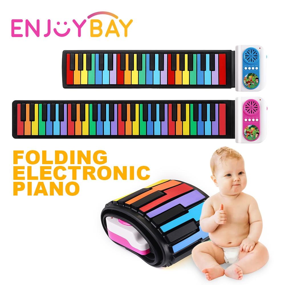 Enjoybay 49 touches retrousser jouet de Piano électronique enfants Silicone Midi clavier Pianos Portable bébé Piano cadeau Musical pour les enfants