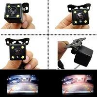 Estacionamento assistências retrovisor do carro revering revering câmera de visão traseira ccd + led backup com grande grau re para visão noturna automática