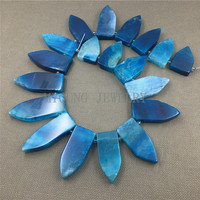 MY1260 Mix Size Top drilled Blue Dragon Veins Agates Dagger Spike Slice Slab Beads Pendant Necklace Jewelry Making
