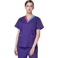 Hospital summer short sleeve doctor surgical V neck medical spa uniform nurse scrub uniform nursing scrubs suits women