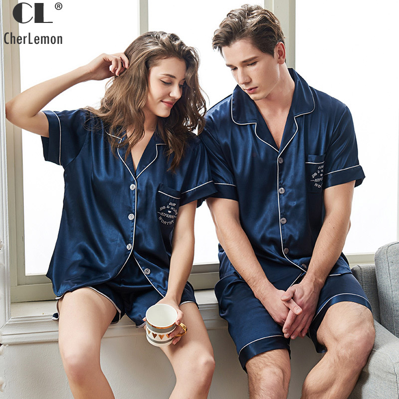 CherLemon Couples Premium Satin Sleepwear Women Mens Summer Short Sleeve Button-Down Top and Shorts Pajama Sets Comfy Nightwear