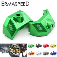 CNC Aluminum Motorcycle Accessories Rear Fork Spindle Chain Adjuster Blocks For Kawasaki Z800 Z 800 2013