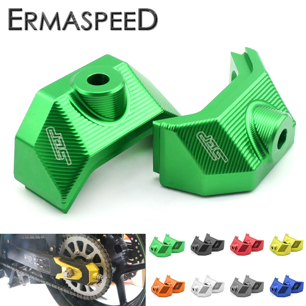 CNC Aluminum Motorcycle Accessories Rear Fork Spindle Chain Adjuster Blocks for Kawasaki Z800 Z 800 2013 2014 2015 Z 800 цена