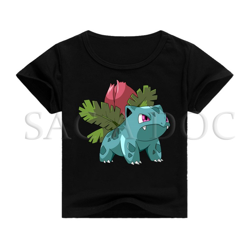 Pokemon Ivysaur 3D Printed T-shirt Children Clothing Baby Boys Girls Hip Hop Tee Shirts Kids Short Sleeve Casual Tops image