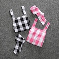 Baby rompers infant girl Newborn baby clothes plaid cotton suspenders sleeveless rompers suits Coverall Including headbands