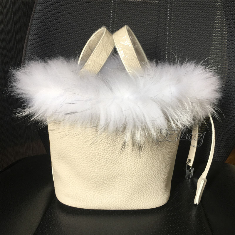 Ellacey Women Luxury Bucket Bags Real Fox Fur Genuine Leather Handbags Fur Women Bag Lady Basket Leather Christmas Tote Bag unique design women leather canvas women big tote bag knit hollow out basket bag lady brown shopping bucket bags famous designer