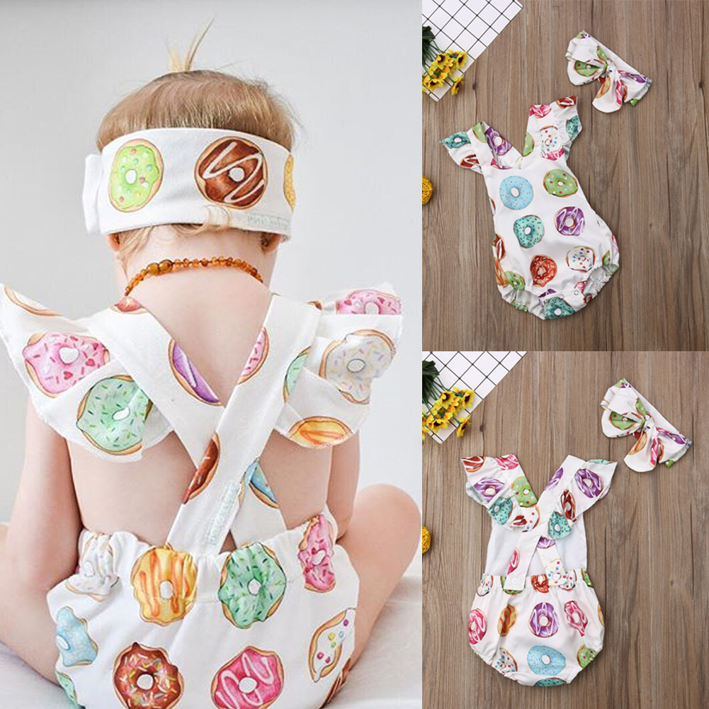 Newborn Baby Girl Clothes Fly Sleeve Donuts Print Backless  Bodysuits Headband 2pcs Summer Outfits