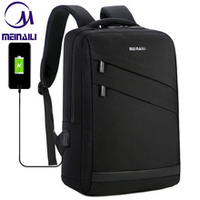 עסקי מחשב נייד תרמיל 14 15.6 אינץ אופנה גברים נסיעות חזרה חבילה משולב ניילון בית ספר שחור Bagpacks עבור בני נוער