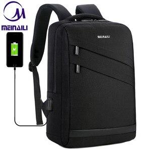 Image 1 - Business Laptop Backpack 14 15.6 inch Fashion Men Travel Back Pack Multifunction Nylon School Black Bagpacks For Teenagers