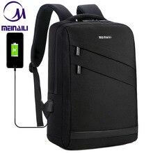 Negócios portátil mochila 14 15.6 polegada moda masculina viagem de volta pacote multifunction náilon escola preto bagpacks para adolescentes