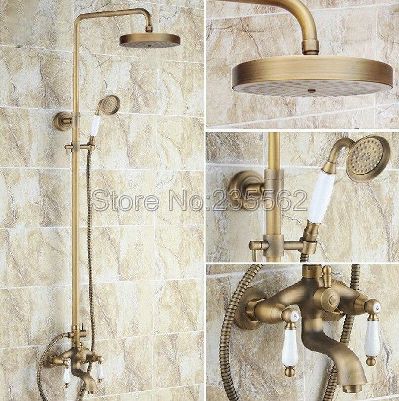 Antique Brass Bathroom Shower Set Faucet W/ Rain Shower Head + Handheld Shower Spray Wall Mounted Mixer Bath Tub Taps lrs165