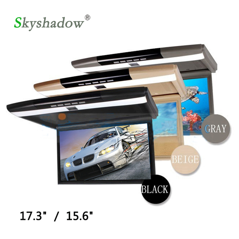 """Clearance Stylish 17.3"""" / 15.6"""" Color TFT LCD Display 12V~24V Roof Mount Car Monitor Flip Down Car Monitor Player HD 1080P HDMI USB SD FM 0"""