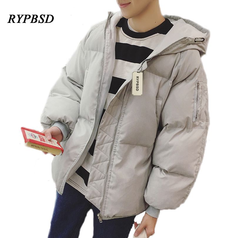 New 2017 Solid Color Korean Winter Coat Men Cotton Men Padded Jacket Thick Youth Zipper Warm Hooded Men's Down Jackets цена