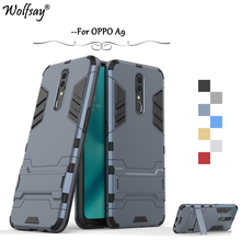 OPPO A9 Case Luxury Robot Armor Rubber Silicone Slim Hard PC Phone Bumper For Back Cover Kickstand Fundas