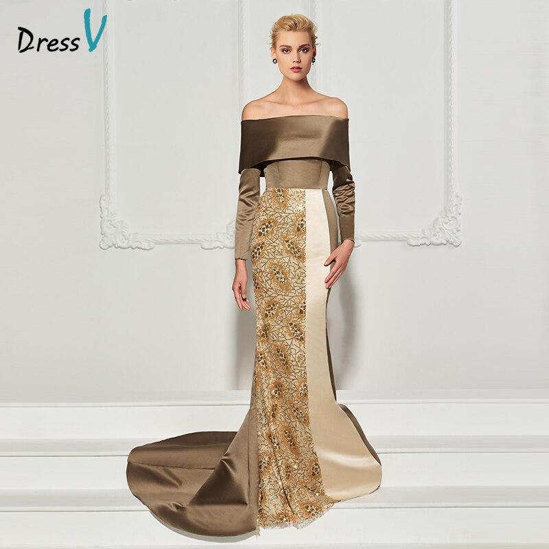Dressv elegant evening dress off the shoulder mermaid long sleeves wedding party formal dress beading trumpet evening dresses