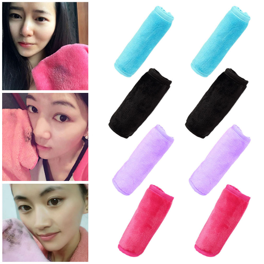 Reusable Microfiber Facial Cleansing Towels Cloth Makeup Remover Cleansing Beauty Wash Tools