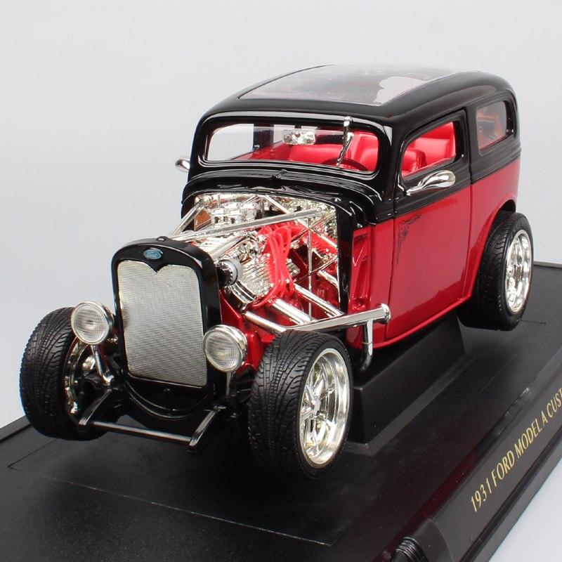 1/18 Scale Vintage Ford Model A Custom A Bone Tudor Sedan 1931 Vehicles Metal Diecast Models Cars Toys Replica Auto For Children