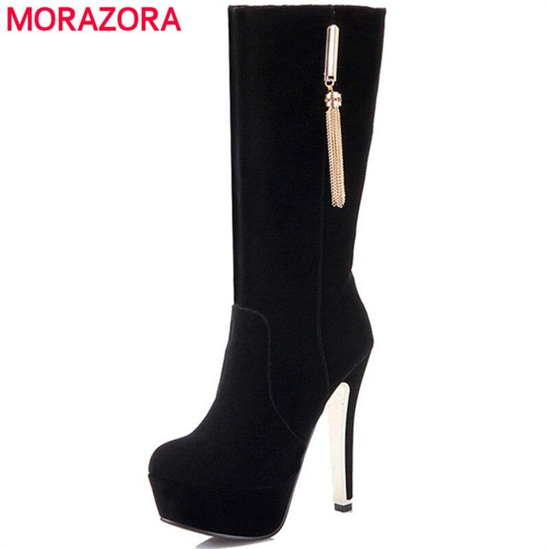 MORAZORA Spuer heels shoes woman sexy lady platform boots for women PU nubuck leather fashion elegant