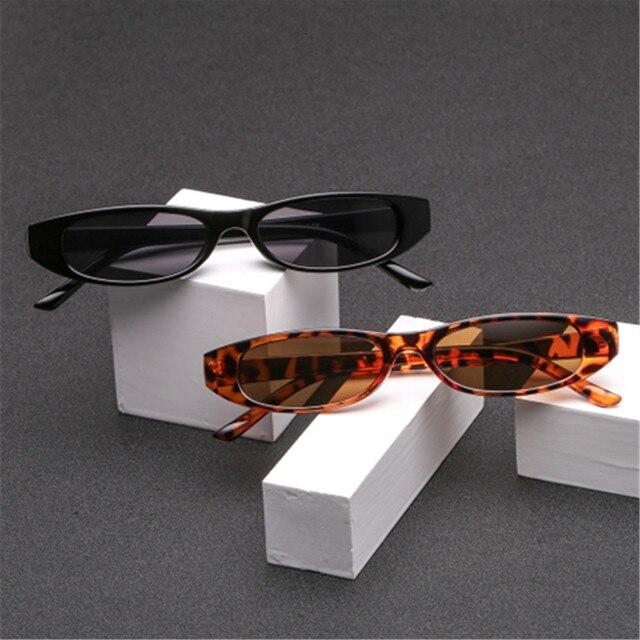 Sunglasses Women Small Rectangle Cat Eye Brand Designer Retro Skinny Eyewear Black Frame Red Sun Glasses 5