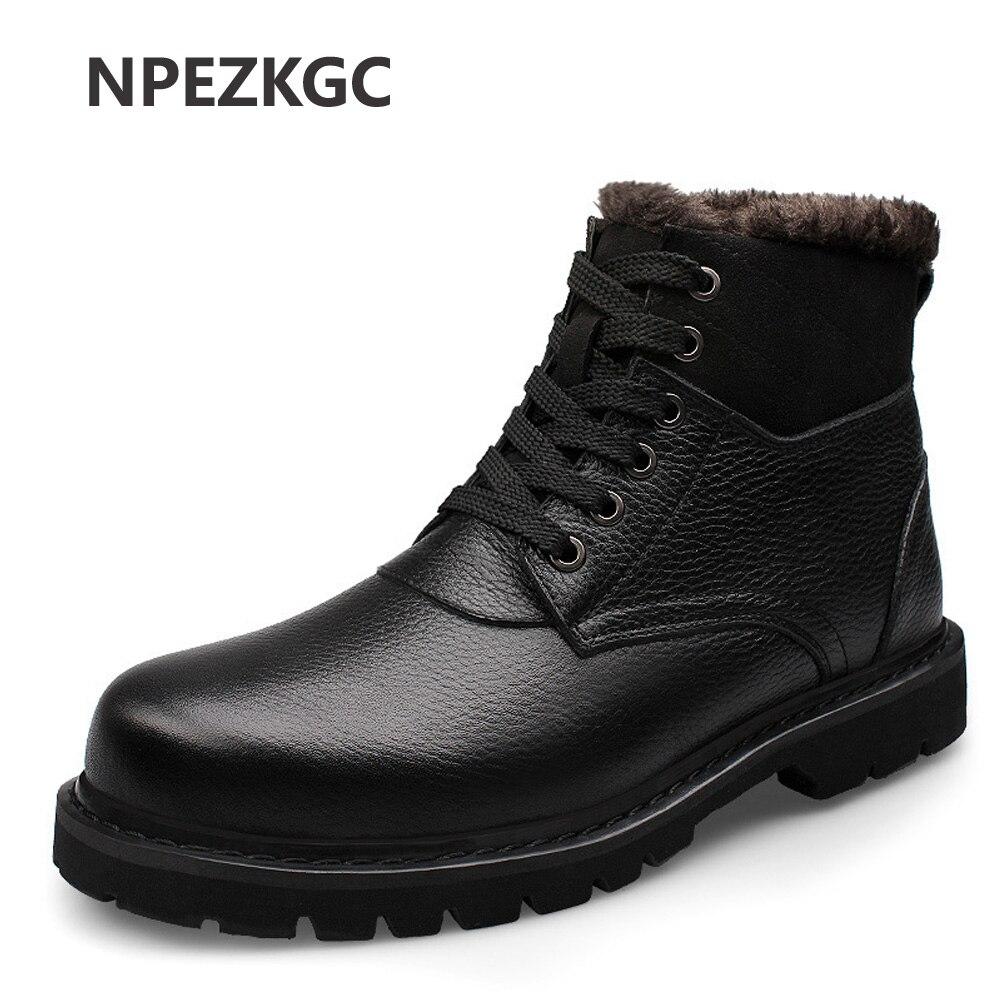 NPEZKGC Genuine Leather Men Winter Boots Size 38~47 Handmade Warm Men Winter Shoes